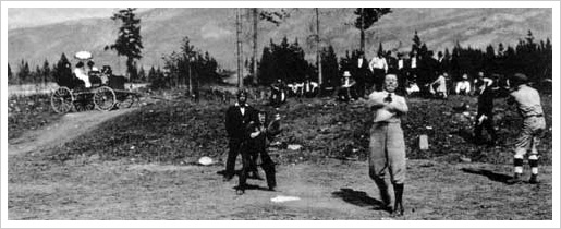 Conan Doyle playing baseball in Jasper National Park during his second visit to in the United States in June 1914