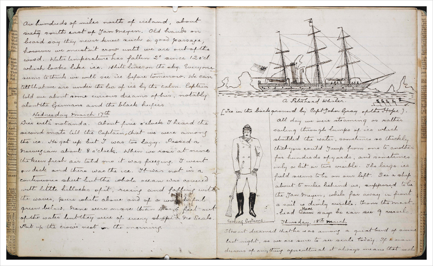 "A page of the journal Conan Doyle kept while on the ""Hope"" whaler"