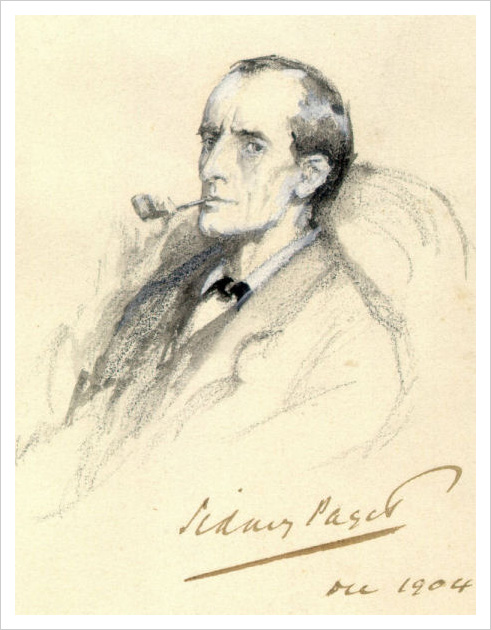 Pencil Sketch of Sherlock Holmes by Sydney Paget
