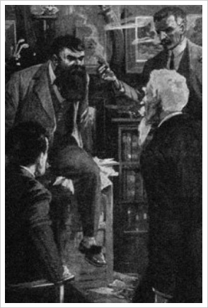 Professor Challenger illustrated by Harry Roundtree in The Poisoned Belt serialised in the Strand
